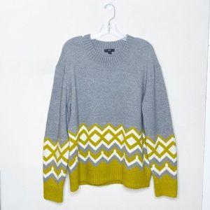 J. Crew Geometric Fair Isle Sweater Gray